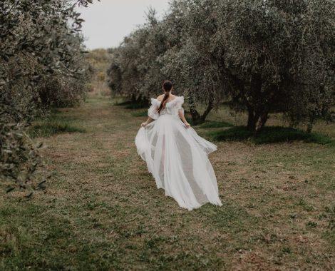 la mariée dans l'oliveraie